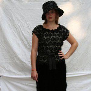 1960's Black Lace and Black Velvet Dress